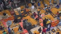 Food market from above in India